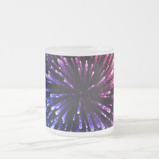 Cool red and blue Explosion Design Frosted Glass Mug
