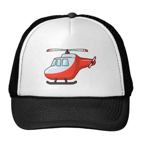 Cool Red and White Cartoon Helicopter Cap