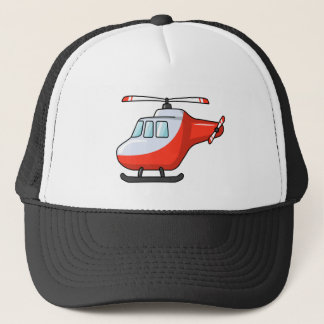 Cool Red and White Cartoon Helicopter Trucker Hat