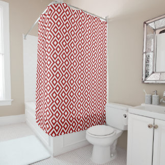 Cool Red and White Geometric Meander Shower Curtain