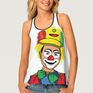 Cool red and yellow clown face colorful design. tank top