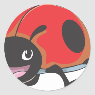 Cool Red Baby Ladybug Cartoon Sticker