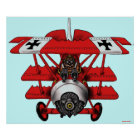 Cool red baron plane art poster design