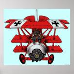 Cool red baron plane art poster design