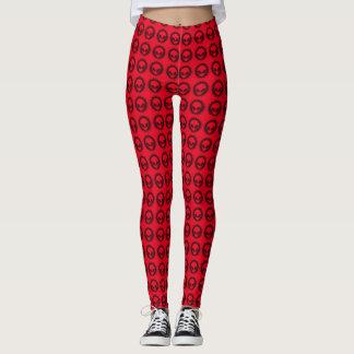 Cool Red & Black Alien Tribal Symbol Pattern Leggings