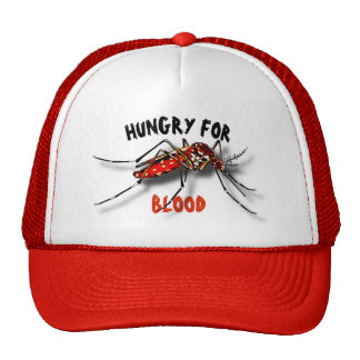 Cool Red Black Funny Mosquito Drawing Cap