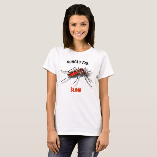 Cool Red Black Funny Mosquito Drawing T-Shirt