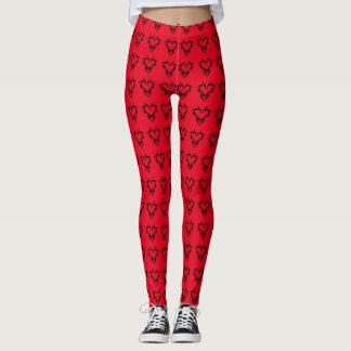 Cool Red & Black Tribal Chakra Hearts Pattern Leggings