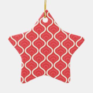 Cool Red Retro Pattern Ceramic Star Decoration