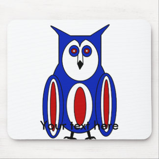 Cool red white and blue owl mousepad