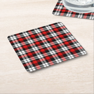 Cool Red White Black Lumberjack Tartan Pattern Square Paper Coaster