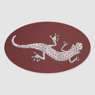 Cool red white dots lizard silver metal effects oval sticker