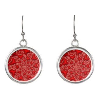 Cool Red White Floral Abstract Neon Fractal Earrings