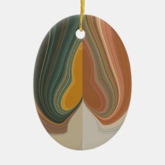 Cool Retro Abstract Graphic colorful Matata strand Ceramic Oval Decoration