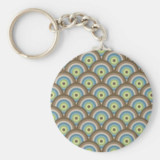 Cool Retro Blue Green Circle Pattern Custom Gifts Keychains