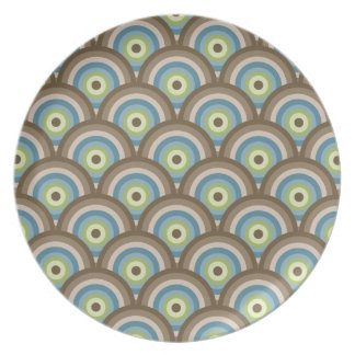 Cool Retro Blue Green Circle Pattern Custom Gifts Party Plates