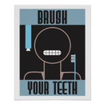 Cool Retro Brush Your Teeth poster