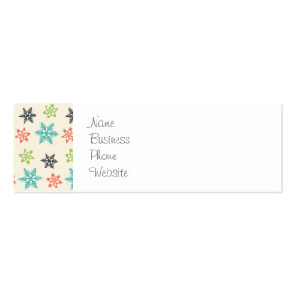 Cool Retro Christmas Holiday Pastel Snowflakes Business Card Template