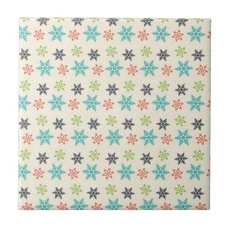 Cool Retro Christmas Holiday Pastel Snowflakes Tiles
