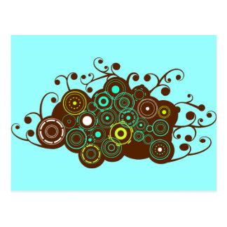 Cool retro circles & swirl brown turquoise card