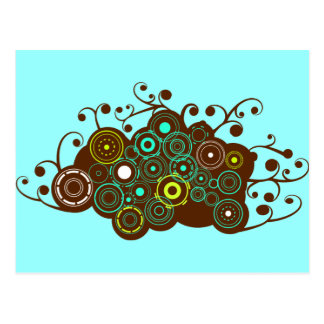 Cool retro circles & swirl brown turquoise card postcard
