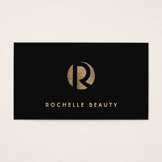 Cool Retro Gold and Black Sequin Monogram Business