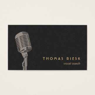 Cool Retro Microphone Logo Vocalist Business Card