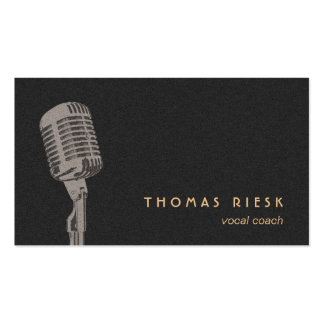 Cool Retro Microphone Logo Vocalist Pack Of Standard Business Cards