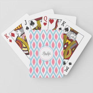 Cool retro monogram ornament geometric curve Ikat Poker Cards