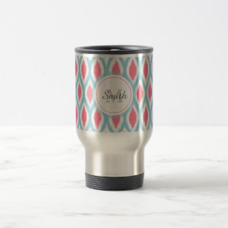 Cool retro monogram ornament geometric curve Ikat Travel Mug