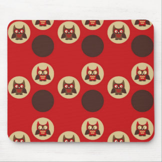 Cool retro owl & circles pattern mouse pad