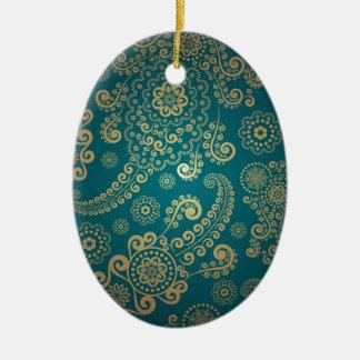 Cool retro pattern ceramic oval decoration
