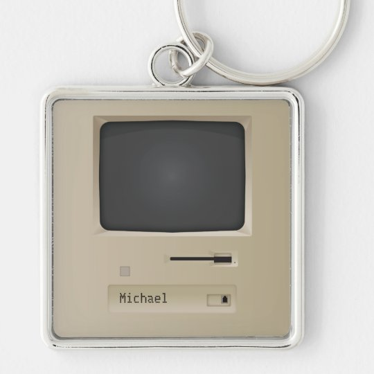 Cool Retro PC Computer Silver-Colored Square Key Ring