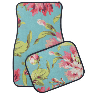 Cool Retro Pink and Blue Floral Floor Mat