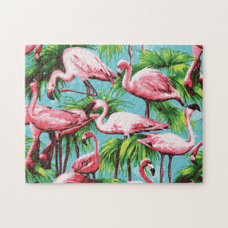 Cool Retro Pink Flamingoes Puzzle