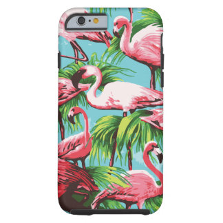 Cool Retro Pink Flamingos Tough iPhone 6 Case