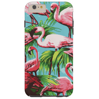Cool Retro Pink Flamingos Tough iPhone 6 Plus Case