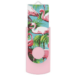 Cool Retro Pink Flamingos USB Flash Drive
