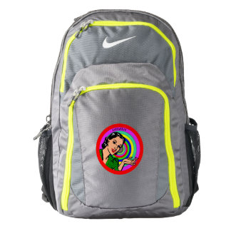Cool Retro Pop Art Girl In Color Circles Backpack