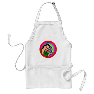 Cool Retro Pop Art Girl In Color Circles Standard Apron