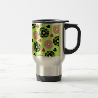 Cool Retro Style Hearts and Flowers Pattern Stainless Steel Travel Mug