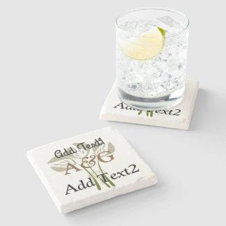 Cool Retro Style Wedding Stone Beverage Coaster