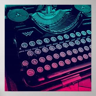 Cool Retro Vintage Typewriter Pop Art Poster