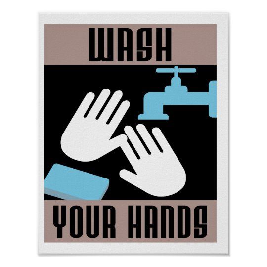 Cool Retro Wash Your Hands Poster