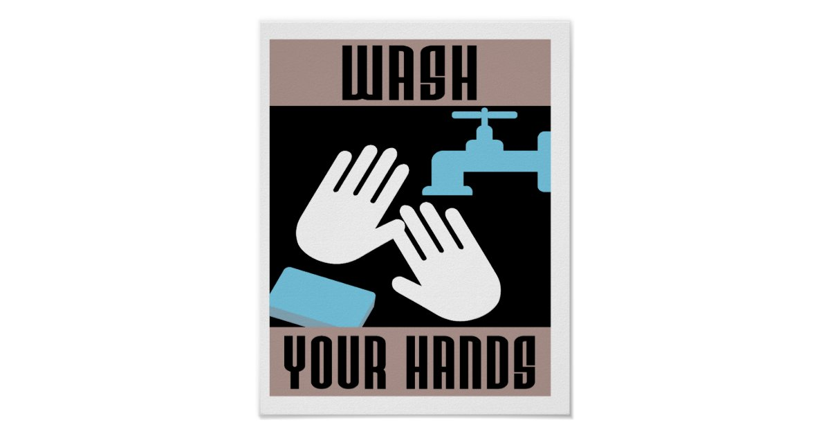 Cool Retro Wash Your Hands Poster Zazzle Co Uk