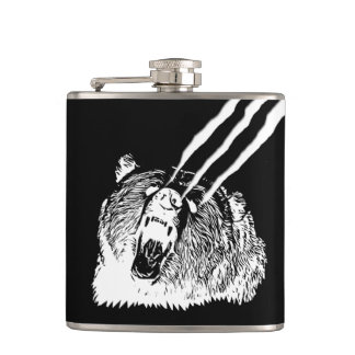 Cool Roaring Grizzly Bear Black Flasks