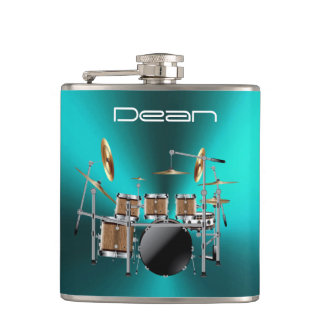 Cool Rock Drum Set On Metallic Blue Music Flask