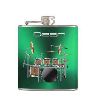 Cool Rock Drum Set On Metallic Green Music Flask
