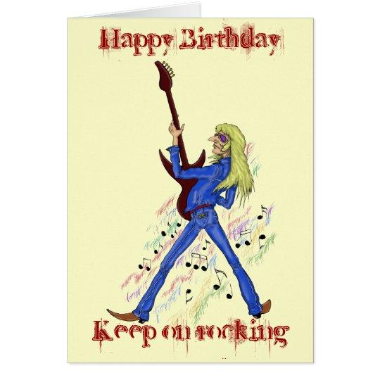 Cool rock guitarist Happy Birthday card design