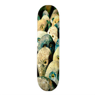 Cool Rock Stone Owl Faces with Eyes Custom Skate Board